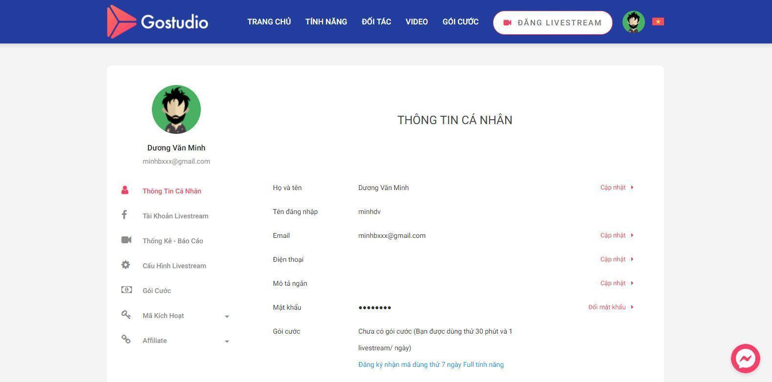 Hình ảnh giao diện sau khi đăng nhập tài khoản Gostudio