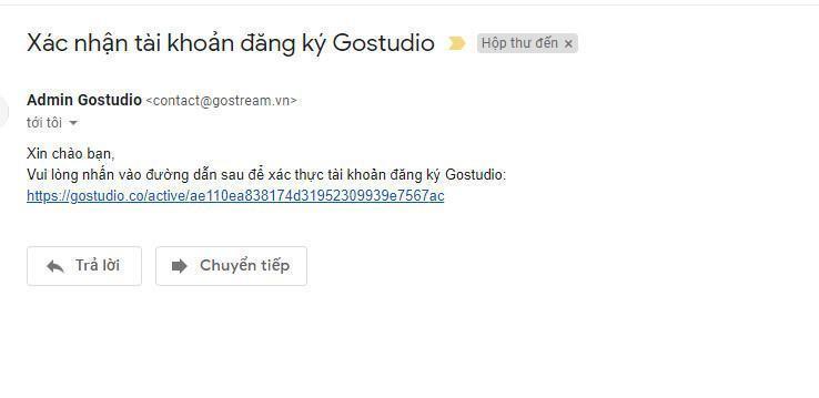 Hình ảnh mail xác thực tài khoản Gostudio