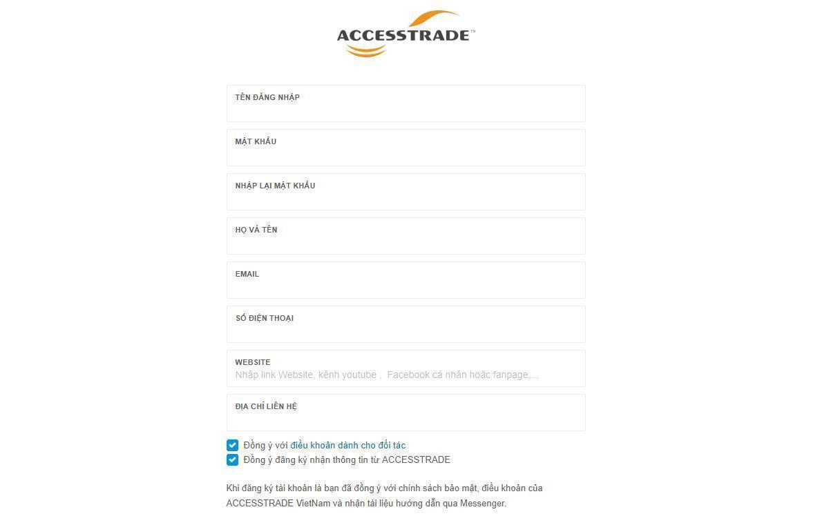 Hình ảnh form đăng ký tài khoản Accesstrade