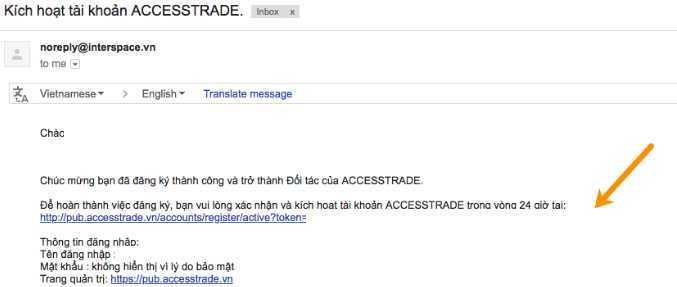Hình ảnh mail kích hoạt tài khoản Accesstrade