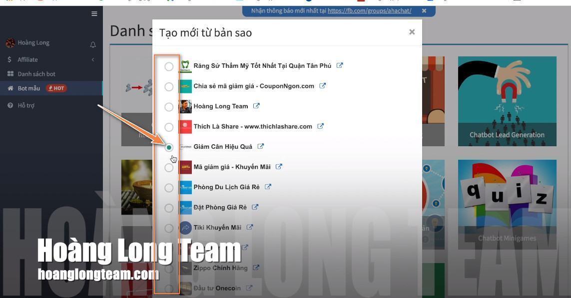 Kết nối Chatbot Viral với Fanpage