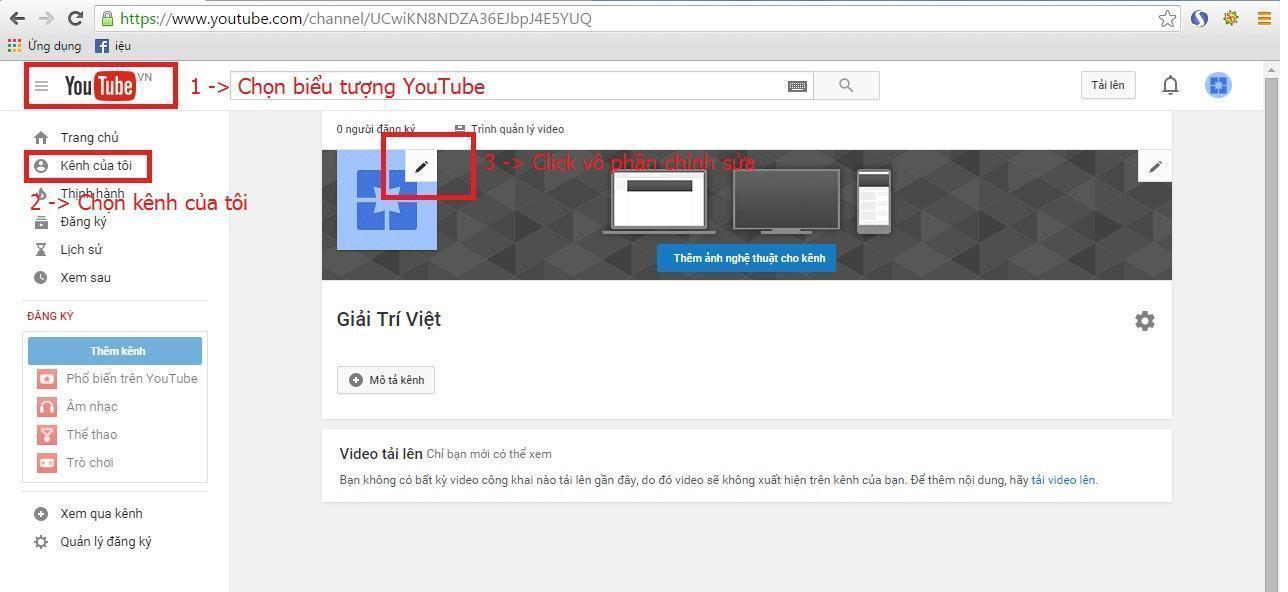 Hình ảnh giao diện kênh Youtube mặc định