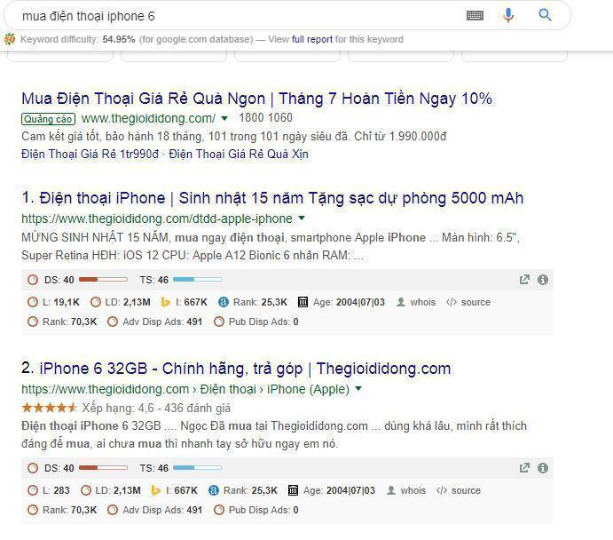 Hình ảnh hiển thị quảng cáo Google Ads khi tìm kiếm trên Google