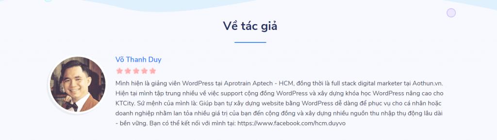 khóa học làm website wordpress tại KTCity của Duy Võ