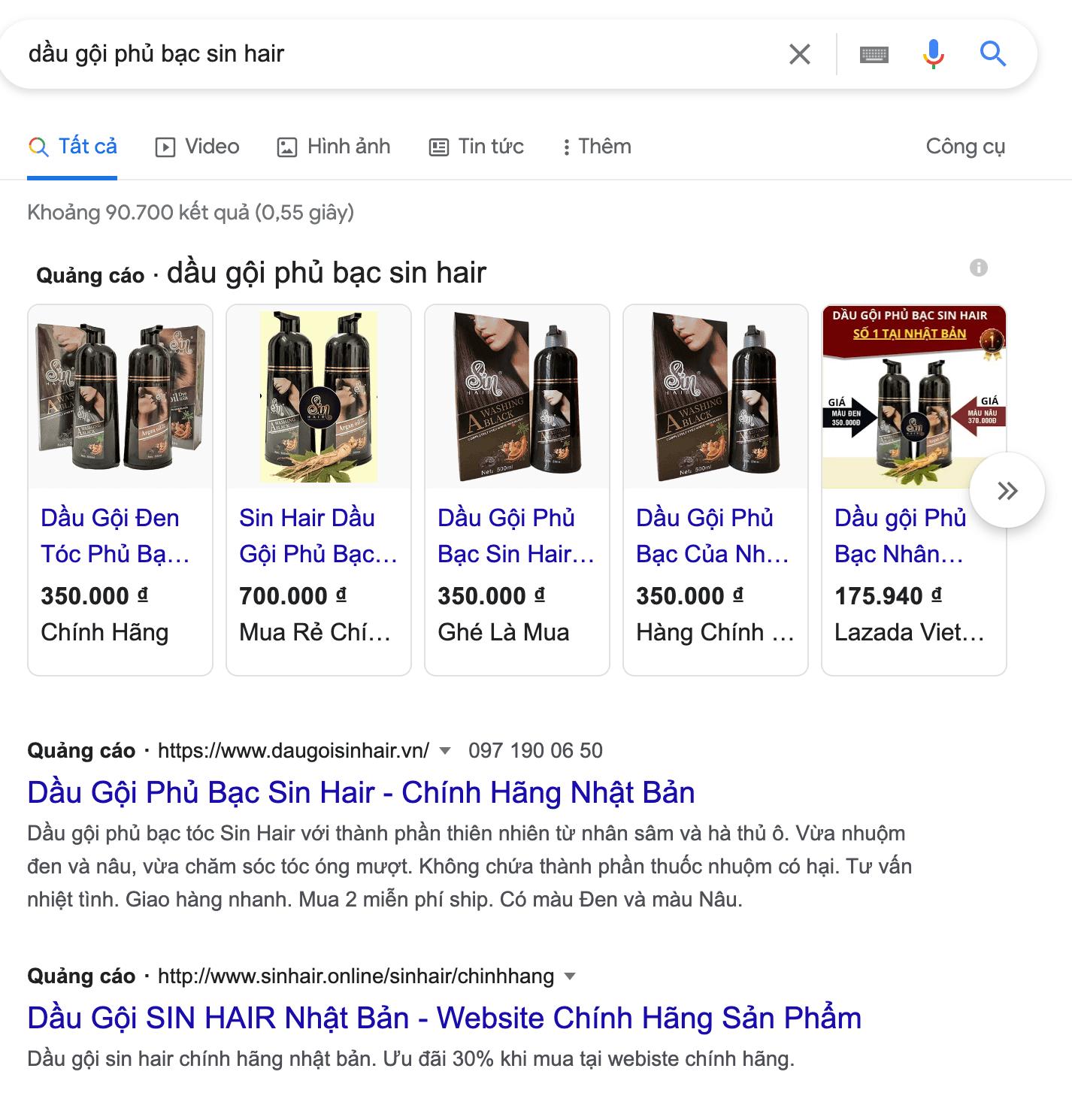 Quảng cáo dầu gội phủ bạc Sin Hair trên Google