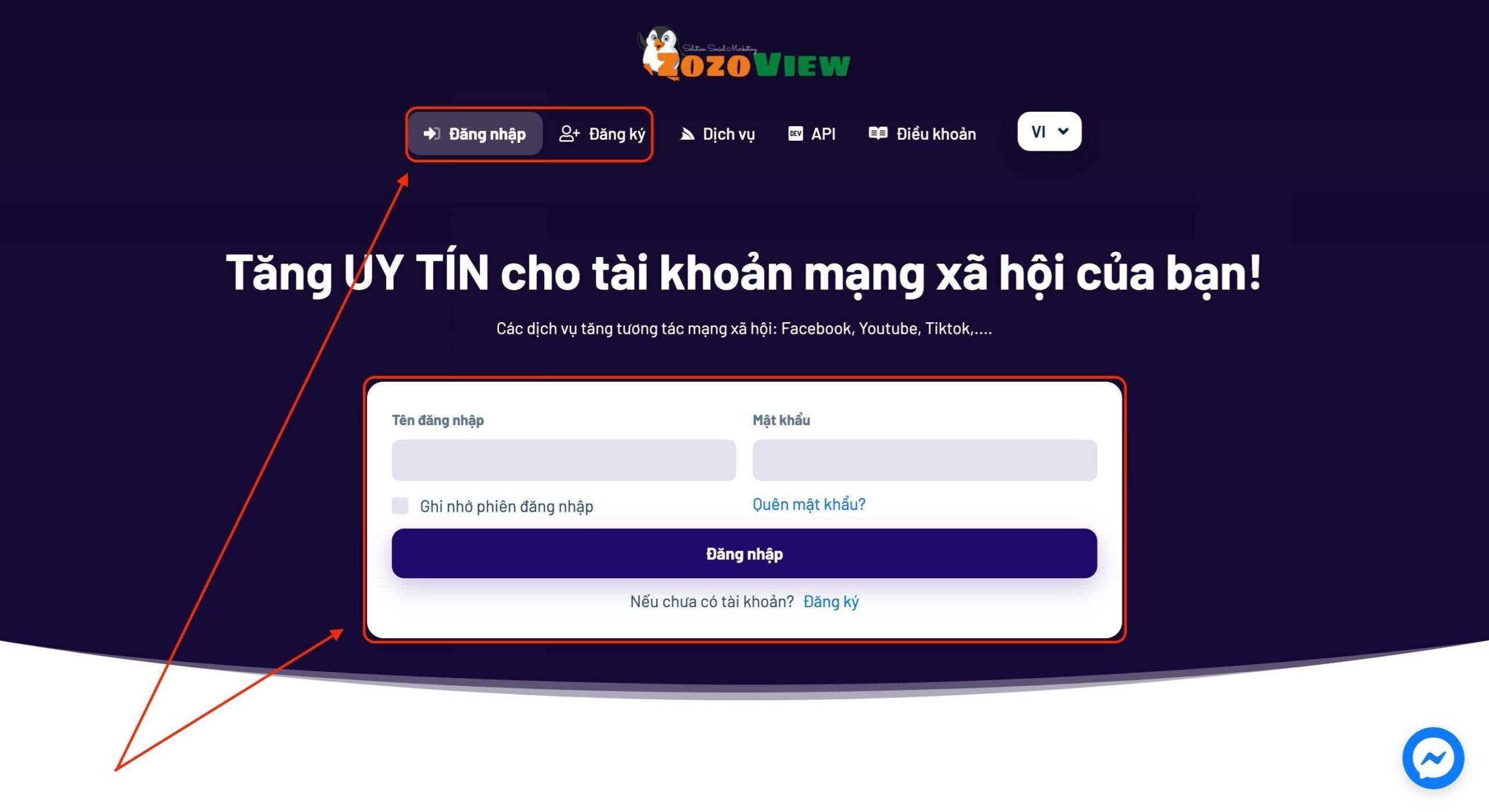 Đăng ký/đăng nhập vào Zozoview